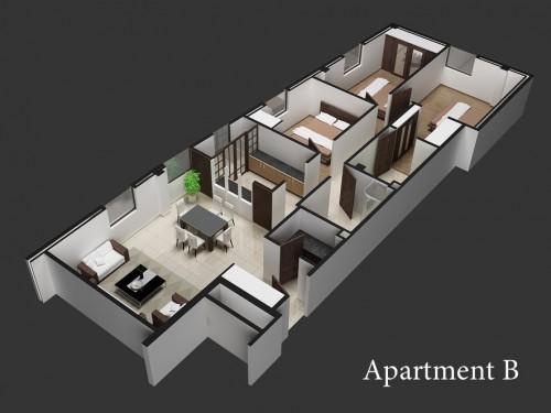 Phối cảnh nội thất căn hộ Belleza
